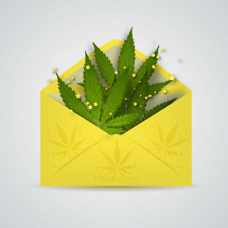 Open envelope with cannabis leafs
