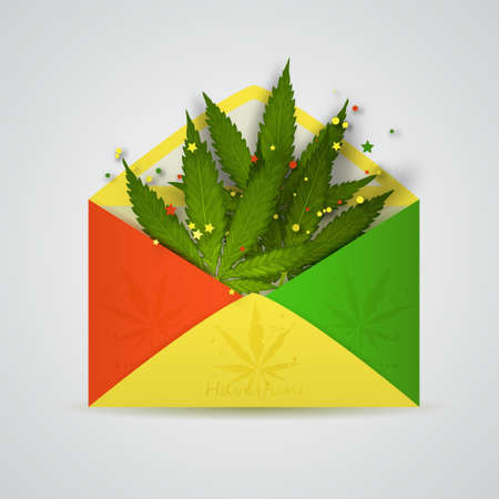 open yellow, red and green envelope with cannabis leafs isolated Illustration