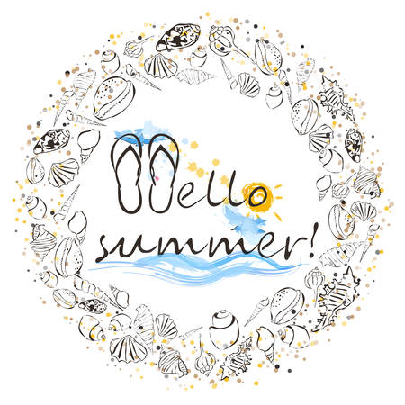 Hello summer lettering composition.
