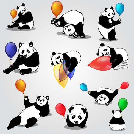 Mignons ours asiatiques avec des ballons Banque d'images - 78342732