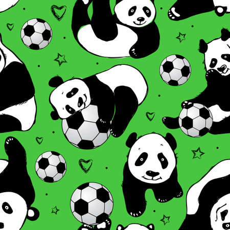 Seamless pattern with panda. Hand drawing .