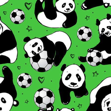 cute bear: Seamless pattern with panda. Hand drawing .