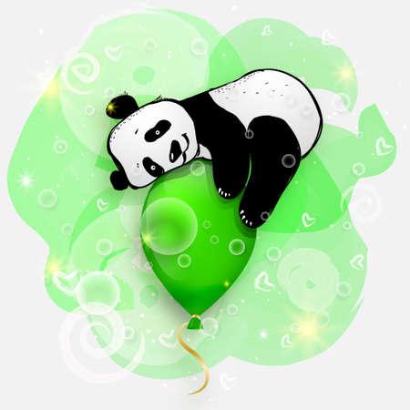 cute little panda on green air balloon, birthday card illustration, cute animals Ilustrace
