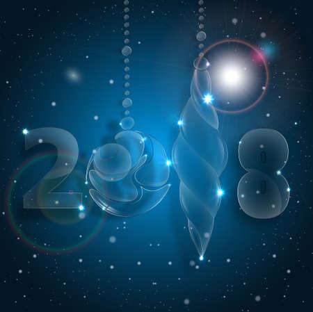 크리스마스 공 장식입니다. 새로운 년 이브 축하. 2018 새해