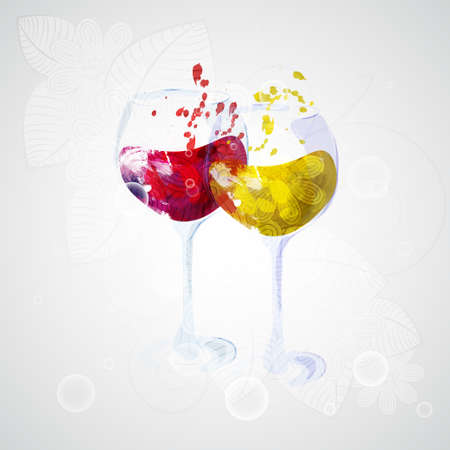 Two wine glasses with red and white wine. Ready to apply to your design. Vector illustration.