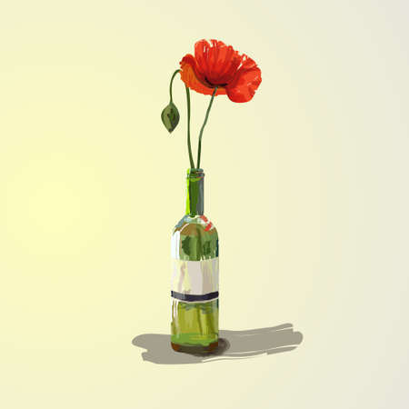 Red poppies flowers in a bottle. Beautiful artwork illustration.