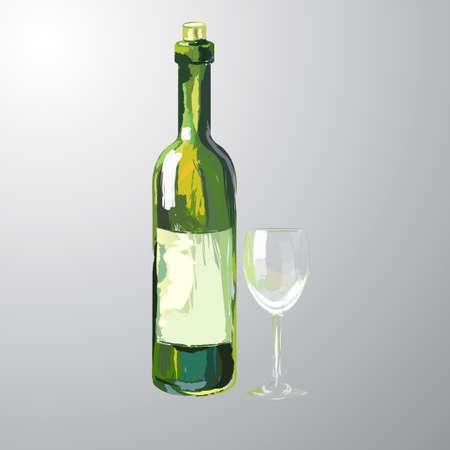 Illustration of bottle and glass of white wine Stock Vector - 81725226