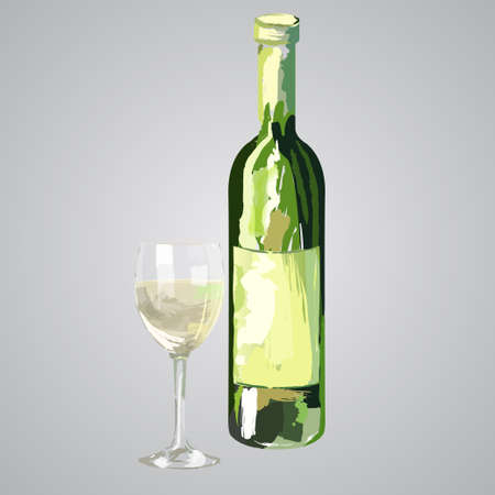Illustration of bottle and glass of white wine