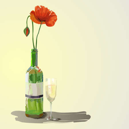 Red poppies flowers in a bottle with glass of white wine. Beautiful artwork illustration. Illustration