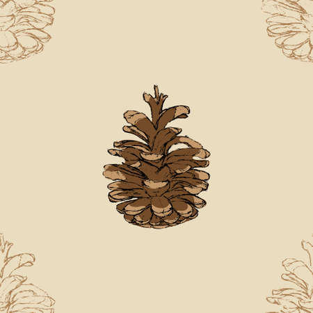 Pine cone seamless pattern. Botanical hand drawn vector background.