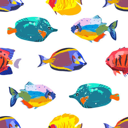 butterflyfish: Seamless cute pattern with tropical fish Illustration