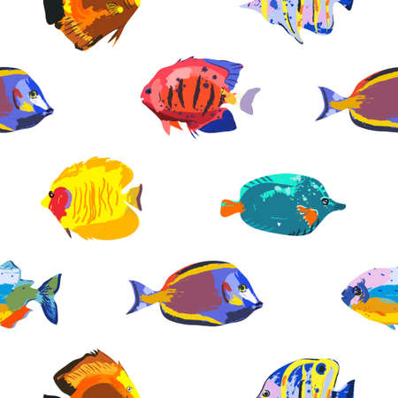 Seamless cute pattern with tropical fish Vectores