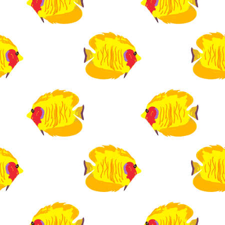 Seamless pattern with exotic fishes