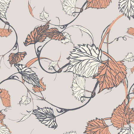 Seamless Wallpaper. Grapevine seamless pattern. Leaves on a grey background