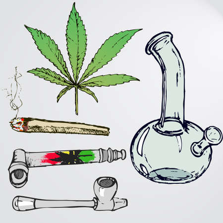 Set of devices for smoking weed. Colorful weed leaf, joint, bong, smoking pipes for marijuana