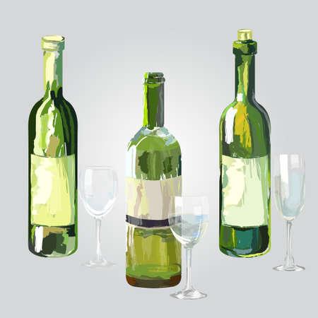 three bottles and glasses of wine - white wine