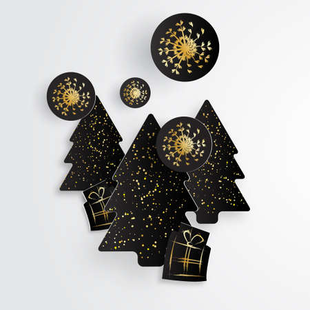 glister: Simple Christmas template with black paper tree, gifts and snowflakes in gold style.