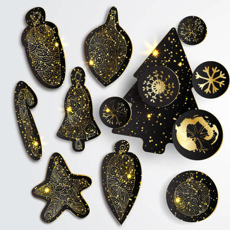 glister: Set of Simple vector christmas elements with black paper tree, balls and snowflakes in gold style. Black paper - original new year elements