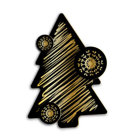 Christmas or New Years tree black and gold paper style