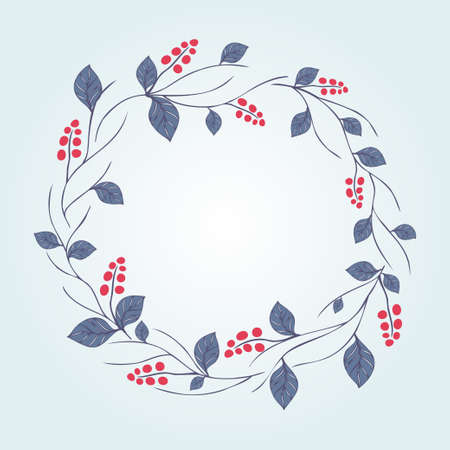 dogrose: floral wreath isolated on white