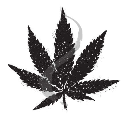 junkie: Marijuana or cannabis vector leaf. Grunge leaf of cannabis