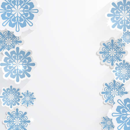 christmasbackground: vector snowflakes for winter background design or christmas greeting card, paper cut out art style. Blue paper snowflakes for your designe Illustration