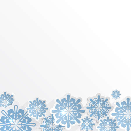christmasbackground: vector snowflakes for winter background design or christmas greeting card, paper cut out art style