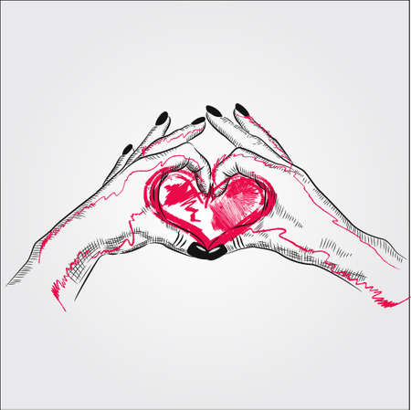 Couple hand in love or valentine themed simple illustration. Hands make heart isolated