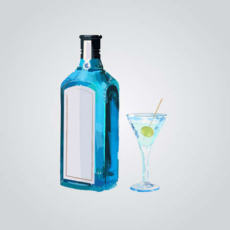Traditional dry gin in blue bottle. Glass gin with green olive. Alcohol drink in hand drawn vector style isolated