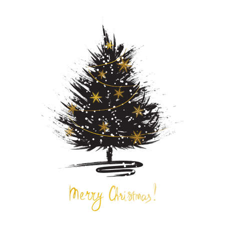 Christmas greeting card with Xmas tree sketch. Grunge fir with golden snowflakes. Vector illustration Illustration
