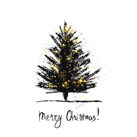 手でカードのデザインには、クリスマス ツリーと雪の結晶とメリー クリスマス テキストが描画されます。