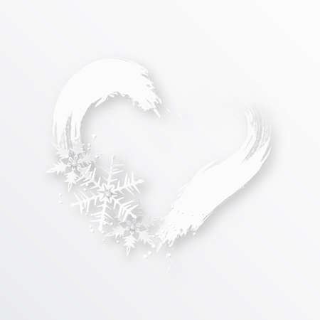 Heart shaped frame with snowflakes. Winter background. Valentines Day background.