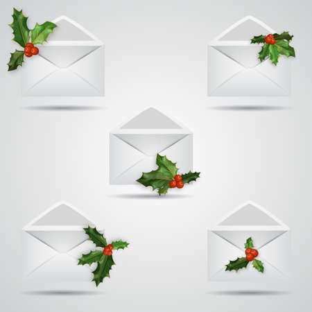 Set of Christmas envelope icons. Open envelope with holly berries Vectores