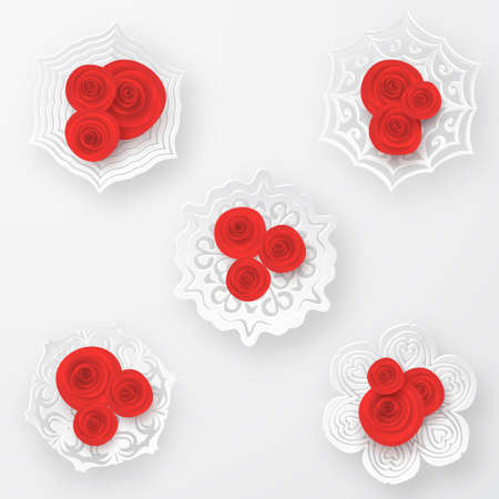 Red vector roses with paper snowflakes composition on white background. Heart symbol. Romantic background . St. Valentine's Day, 8 march, Woman's day, romantic holiday design Vectores
