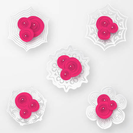 Pink vector roses with paper snowflakes and pearls beads composition on white background. Heart symbol. Romantic background . St. Valentine's Day, 8 march, Woman's day, romantic holiday design