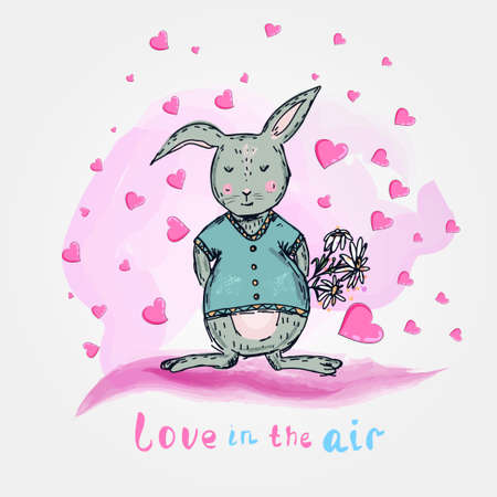 cute vector rabbit with flowers and hearts.Cartoon illustration. Sketch style. Love in the air Reklamní fotografie