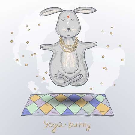 Cute hare in yoga pose. 向量圖像