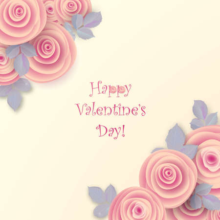 Valentine's day greeting card with blossom of roses flowers.