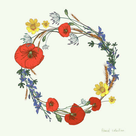 Wreath of wild flowers in hand drawn elements.
