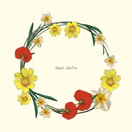 Wreath of wild flowers illustration. Illustration
