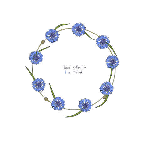 Floral wreath with stylized blue flowers of cornflowers and green leaves. Hand drawn vector illustration. Isolated on white background.