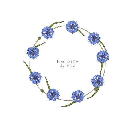 couronne florale avec des fleurs bleues stylisées de bleuets et de feuilles vertes . hand-drawn illustration vectorielle . isolé sur fond blanc