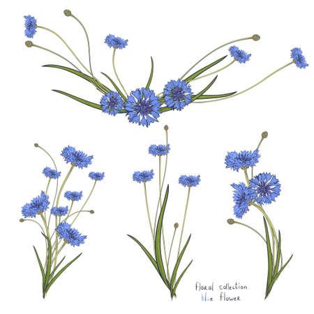 couronne florale avec des fleurs bleues stylisées