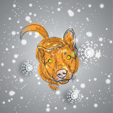 Red dog sitting in sketch style. Snowflakes fall on dog Illustration