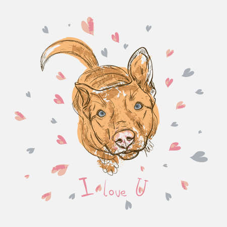 Dog sitting on background with hearts. Vector illustration Sketch style