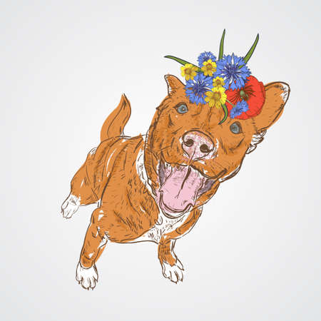 Dog sitting with flowers on head. Vector illustration Sketch style