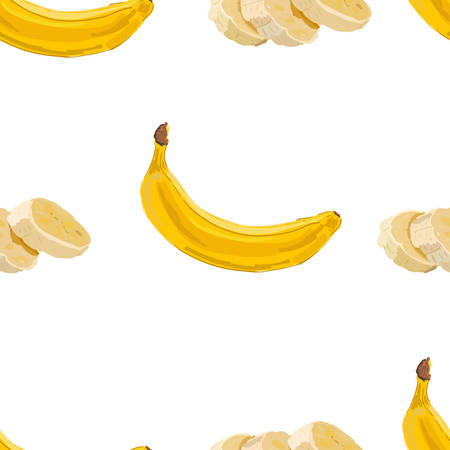 Banana seamless pattern vector. Bunch of Ripe bananas on a white background. For food design, restaurant, wrapping, health care products