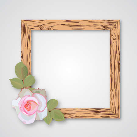 Design wooden photo frames with roses Stock Illustratie