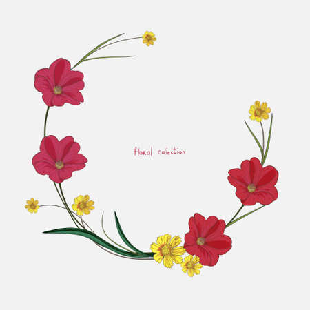 Wreath of wild flowers. Hand drawn vector elements Illustration