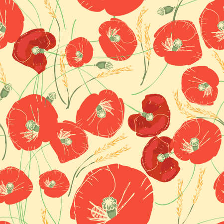 pattern with red poppies, daisies, cornflowers and ears of wheat